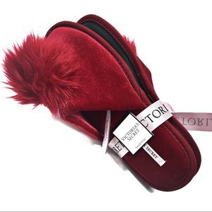 Victoria's Secret Red Velvet Pom Slippers